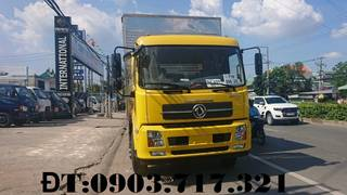 Bán xe tải DongFeng thùng kín dài 9m7. Xe tải DongFeng B180 tải 7t5 thùng 9m7 giao xe...