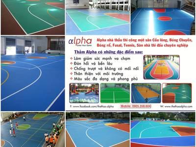 Sân cầu lông, mặt sân cao su, mặt sân đa năng, mặt sân nhà thi đấu, mặt sân thể thao 9