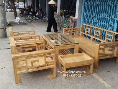 Sofa gỗ tphcm giá rẻ chỉ 15 triệu, sofa phòng khách nhỏ 9