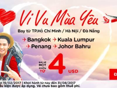 Vé AirAsia  khuyến mãi Valentine từ 4 USD 0