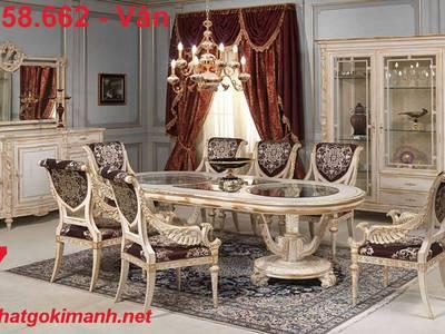 Bộ bàn ghế ăn gỗ tân cổ điển Vĩnh Long Bến Tre 0
