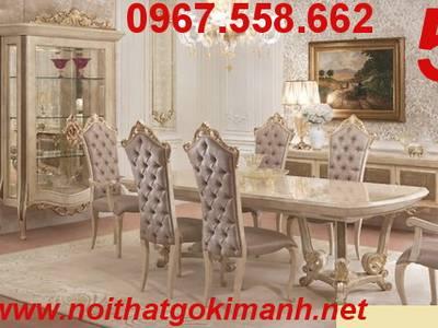 Bộ bàn ghế ăn gỗ tân cổ điển Vĩnh Long Bến Tre 9
