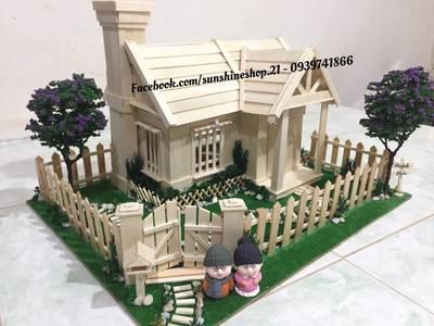 Bán mô hình nhà que kem, nhà tăm trem nhà que gỗ handmade 3