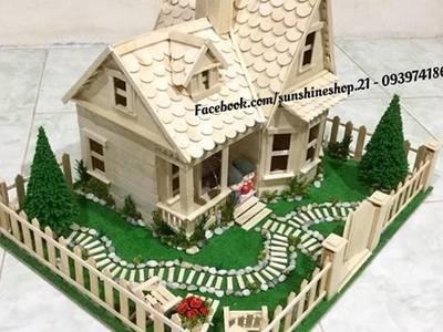 Bán mô hình nhà que kem, nhà tăm trem nhà que gỗ handmade 11