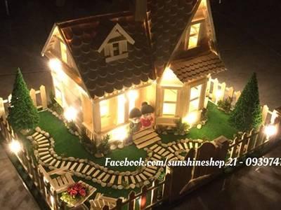 Bán mô hình nhà que kem, nhà tăm trem nhà que gỗ handmade 12
