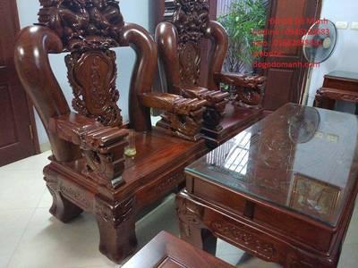 Bộ Bàn Ghế Rồng Đỉnh Hương Vân Tay 18 - Hàng 6 - 10 - 12 món 0