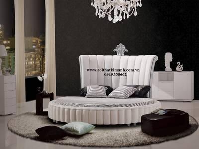 Bán giường tròn giá rẻ tphcm, giường ngủ hình tròn bọc nệm 9