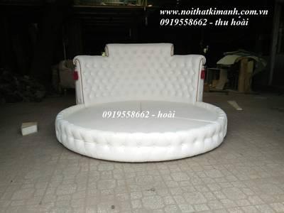 Bán giường tròn giá rẻ tphcm, giường ngủ hình tròn bọc nệm 10