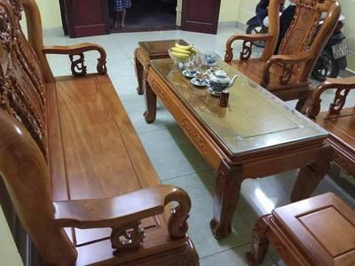 Bộ bàn ghế trạm khắc Minh quốc đào gỗ gõ đỏ cột 10 và cột 12 0