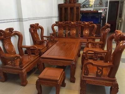 Bộ bàn ghế trạm khắc Minh quốc đào gỗ gõ đỏ cột 10 và cột 12 6