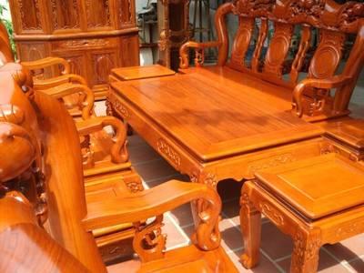 Bộ bàn ghế trạm khắc Minh quốc đào gỗ gõ đỏ cột 10 và cột 12 8