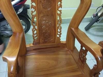 Bộ bàn ghế trạm khắc Minh quốc đào gỗ gõ đỏ cột 10 và cột 12 9