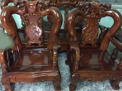 Bộ bàn ghế giả cổ Minh Quốc đào gỗ xà cừ 8