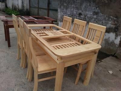 Bộ bàn ghế ăn 2 tầng - Gỗ sồi Nga tại cửa hàng Đồ Gỗ Đỗ Mạnh 1