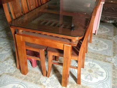 Bộ Bàn Ghế Ăn 2 Tầng và bộ bàn ghế Xẻ Quạt gỗ Trẹo 0