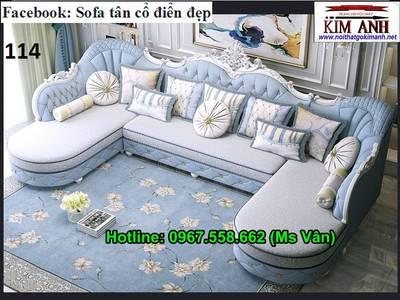 Ghế sofa góc phòng khách gỗ tân cổ điển đẹp chất lượng châu âu 0