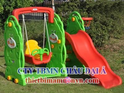Cầu trượt bằng nhựa nhập khẩu dành cho trẻ em mầm non, khu vui chơi trẻ em 3
