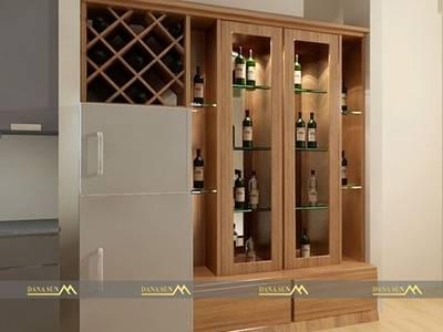 Mẫu tủ rượu âm tường bằng gỗ 0