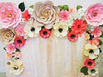 Backdrop hoa giấy, hoa trang trí sự kiện, hoa trang trí tiệc cưới 2