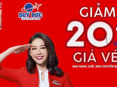 Hãng hàng không giá rẻ AirAsia siêu khuyến mãi giảm 20 giá vé 0