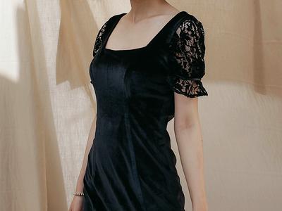 Đầm nhung đen đuôi cá phối ren - thời trang dự tiệc giảm 15 0