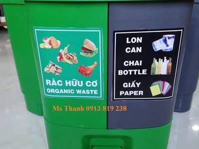 Bán thùng rác 2 ngăn dùng phân loại rác thải tại nguồn 2