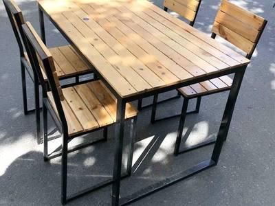Bộ bàn ghế chân sắt mặt gỗ 1