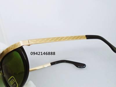 Kính Solex Hoa Dâu có vành mạ vàng  14k  1/25  mắt xanh 4