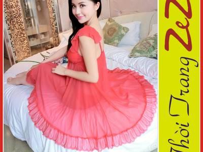 Đầm ngủ nữ, gợi cảm màu đỏ tươi . 1