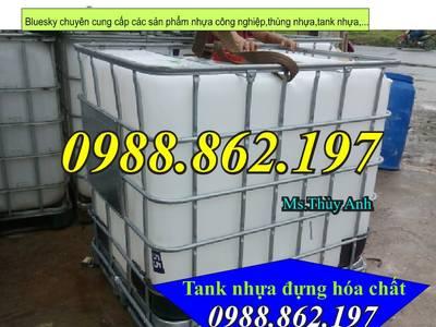 Bồn chứa hóa chất 1000L, tank nhựa 1000L, thùng nhựa chứa hóa chất đã qua sử dụng, bồn chứa hóa chất 1