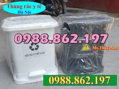 Thùng rác 15 lít đạp chân y tế màu vàng, thùng rác màu vàng đạp chân 15 lít y tế, thùng rác y tế 15 0