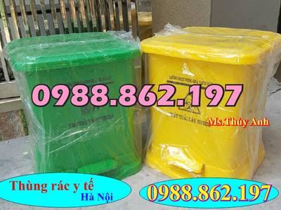 Thùng rác 15 lít đạp chân y tế màu vàng, thùng rác màu vàng đạp chân 15 lít y tế, thùng rác y tế 15 6