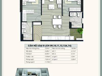 Bán gấp cắt lỗ căn hộ tầng thấp tòa A2 Ecolife Lê Văn Lương,75.9m2,2PN. 0