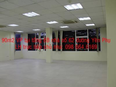 Chủ nhà cho thuê Từ 40-140m2 VP tại đường Yên Phụ. Giá 186.000đ/m2. LH 098 664 6169 1