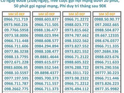 Sim Viettel 098, 097, 096 đẹp rẻ gói V90 miễn phí tháng đầu đồng giá 600K 1