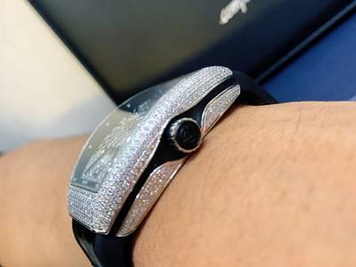 Đồng hồ Franck Muller Vanguard V41 Steel Custom Full Diamond 2