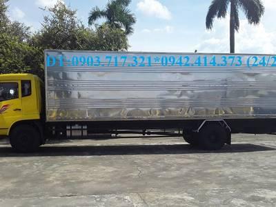 Xe tải DongFeng 8 tấn thùng kín. Xe tải DongFeng B180 thùng kín dài 9m7 mở 3 cửa hông 7