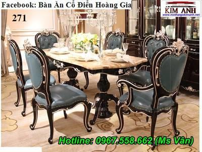 Bộ bàn ghế ăn tân cổ điển - bàn ăn cổ điển phong cách sang trọng châu âu 3