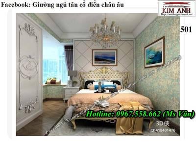 Giường ngủ cổ điển cao cấp, các mẫu giường tân cổ điển đẹp 6