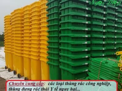 Thùng đựng rác có nguy cơ lây nhiễm, thùng rác công nghiệp 120 lít, thùng đựng rác thải Y tế 4