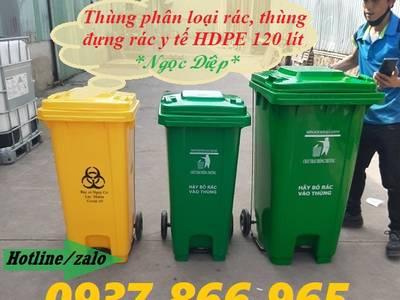 Thùng đựng rác có nguy cơ lây nhiễm, thùng rác công nghiệp 120 lít, thùng đựng rác thải Y tế 5