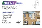 Hàng chủ đầu tư  Căn hộ 02 ngủ, DT 78m2 toà nhà Sapphire 3 chung cư Goldmark City