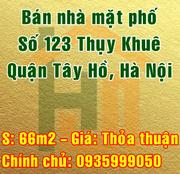 Bán nhà mặt đường số 123 Thụy Khuê, Quận Tây Hồ, Hà Nội