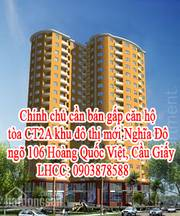 Chính chủ cần bán gấp căn hộ tòa CT2A khu đô thị mới Nghĩa Đô, ngõ 106 Hoàng Quốc Việt, Cầu Giấy, HN