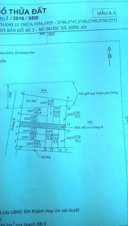 Bán đất 02 mặt tiền đường 10m lầu ông huyện, diên an diên khánh dt 106m2 giá 450tr