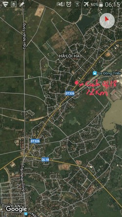 Bán đất mặt đường DT326, thôn Hạ 1,Tràng An, Đông Triều, QN.