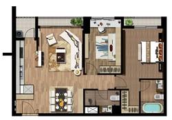 Cho thuê căn hộ Green Valley Phú Mỹ Hưng, 88m2, 2PN,full nội thất.