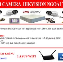 Trọn bộ 04 camera Hikvision giá sốc