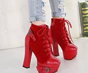 1 Giày boot cao gót cá tính Mã: GC0243 - ĐỎ