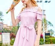 Đầm hồng karo nhí